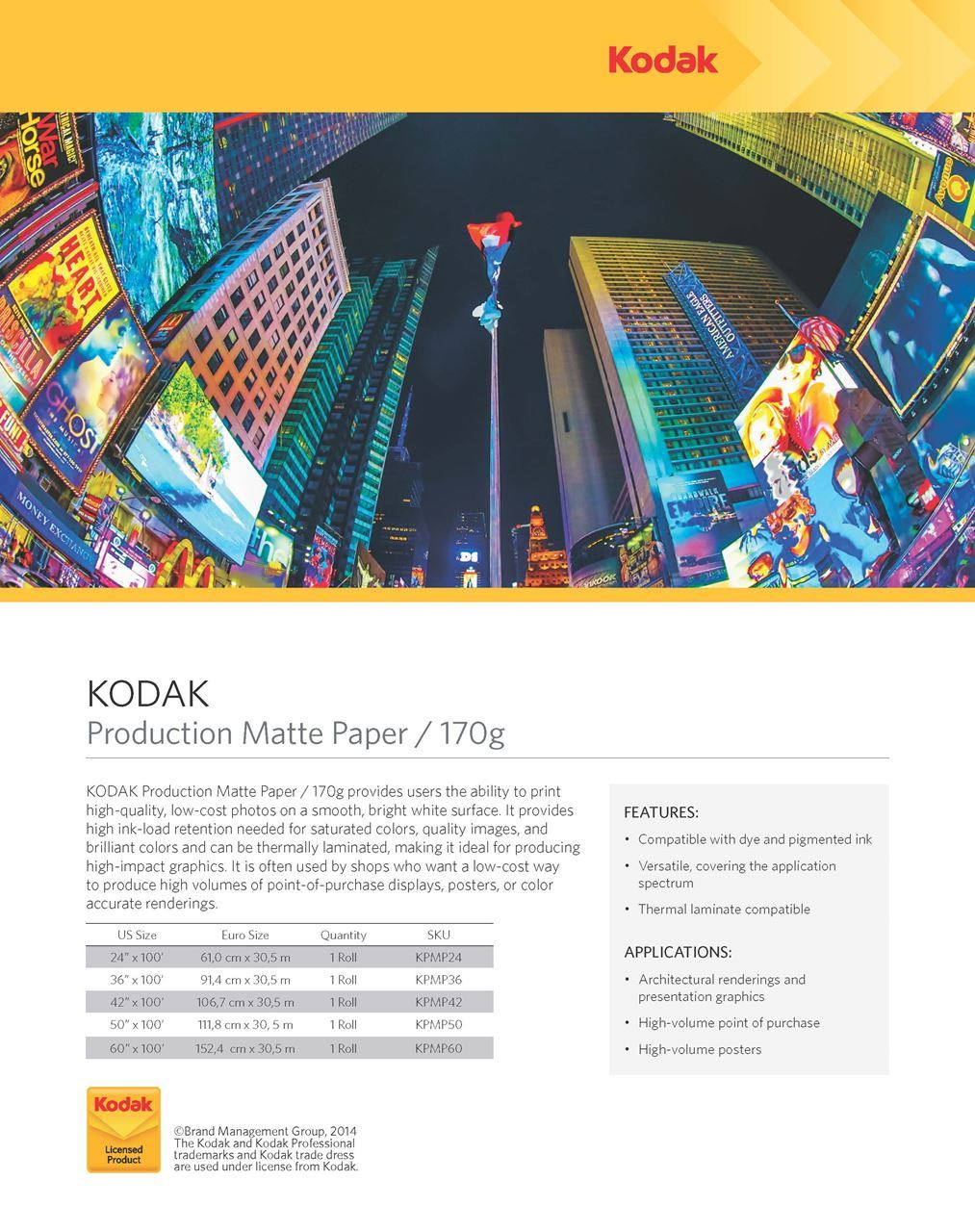 KODAK Production Matte Paper / 170g